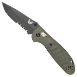 Benchmade Mini-Griptilian Combo Edge & Black Blade - Olive Handle (556SBKOD-S30V)